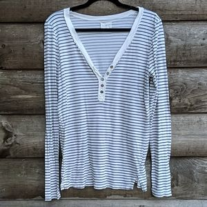 Anthropologie t.la Striped Henley Long Sleeve Top